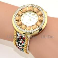 Color Rhinestone Dial Numeral Crystals Wristband Casual Women Quartz Dress Watch