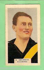 1930 VICTORIAN FOOTBALLERS CARD - GODFREY PHILLIPS CIGS. #6 E. ZSCHECK, RICHMOND