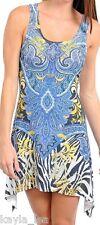 Blue Zebra/Paisley/Scroll Sublimation Rhinestone Sleeveless Tank Dress