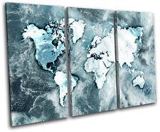 World Atlas Ocean Blue Maps Flags Treble Canvas Wall Art Picture Print