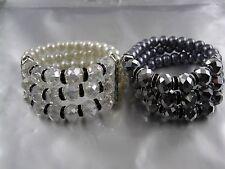 Kunst Perlen Armband dreireihig mit geschliffenen Glasperlen Farbauswahl