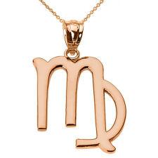 Fine 14k Rose Gold Virgo September Zodiac Sign Horoscope Pendant Necklace