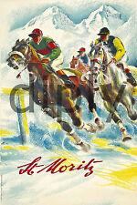 PLAQUE ALU DECO AFFICHE ST MORITZ COURSE CHEVAUX HORSES RACE MONTAGNE NEIGE