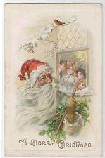Santa Children at Window Christmas 1912 postcard