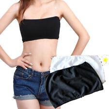 Women Ladies Black White 2 PCS Elastic Strapless Cotton Tube Bra Tops Bustier