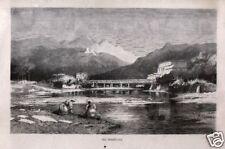 Stampa antica originale MENTONE Francia Calame 1880 Ancien Gravure Old Print