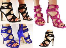 S396-Damas Tacón alto puntera abierta tejida Stiletto Zapatos de la sandalia fiesta