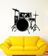 Vinyl Wall Decal Drum Kit Drummer Music Musical Instrument Stickers (1770ig)