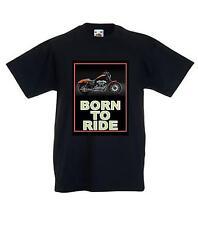Born to Ride T-SHIRT BAMBINO 100% COTONE Biker Rocker Gotico Slogan GRATIS UK P & P