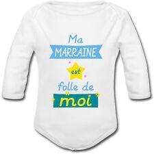 Body Bébé Ma Marraine est Folle de Moi - Naissance Baptême