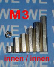 M3 5-50mm (MII) DISTANZHÜLSEN - DISTANZBOLZEN - ABSTANDSHALTER - ABSTANDSHÜLSEN