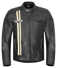 Herren Motorradjacke XLS Classic Stripes Motorrad Lederjacke Retro schwarz