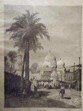 GRAVURE SUR BOIS 19ème  AU VIEUX  LE CAIRE EGYPTE