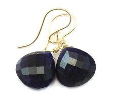 Blue Sapphire Earrings Faceted heart Simple Teardrops Sterling 14k Gold Drops