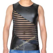 Men Sleeveless Tee Shirt Caveman See-through Mesh & Leater Like Tank Top Vest