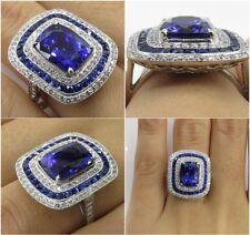 925 Silver Huge Blue Sapphire Gemstone Rings Anniversary Women Men Jewelry#6-10