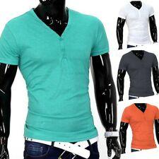 Llanura de manga corta básica de la camiseta con cuello en V Slim Fit Hombres