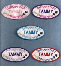 "TD PLEASE PET ME PERSONALIZED -  2""h x 4""w oval -- service dog vest patch --"
