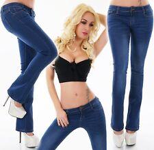 Jeans da donna pantaloni a vita bassa svasati aderenti elasticizzato blu