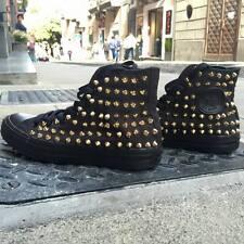 Converse Allstar Nere Monochrome personalizzate con borchie oro a punta