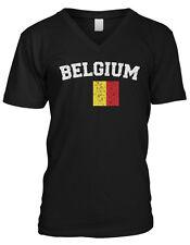 Belgium Country Pride Flag World Football Soccer Belgian Mens V-neck T-shirt