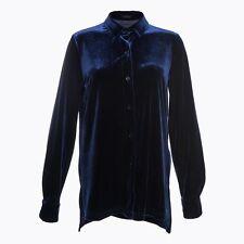 Women Velvet Shirt Blouse Top Loose Casual Button Vintage Long Sleeve Boyfriend