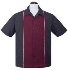 Steady DIAMOND STITCH Panelled Rockabilly Bowling Shirt - Charcoal - US S - 3XL