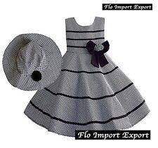 Vestito Bambina Abito e Cappello Principessa Cerimonia Girl Summer Dress DGZF023