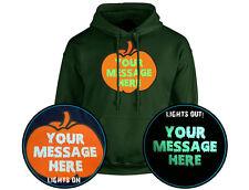 Tu mensaje personalizado de calabaza Halloween brillan en la oscuridad Unisex Sudadera Con Capucha 10 Co