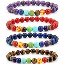 7 Chakra Healing Balance 8mm Natural Stone Elasticity Beads Bracelet