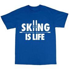 Lo sci è la vita SCIATORE T-SHIRT PREMIUM COTTON SKI SCI ALPINO Regalo