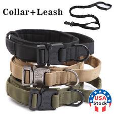 HEAVY DUTY K9 Military Dog Collar Leash Handle Medium Large metal Buckle