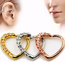 Crystal Heart Ring Helix Cartilage Tragus Piercing Death Ear Clip Bend Fit Bar