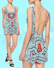 2857b0f6b22be $238 Mara Hoffman Modal Estrada Turquoise jersey Sleeveless Flared Short  Romper