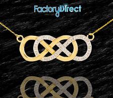 14k Gold Double Infinity Necklace  Diamonds Unity Eternity Everlasting Love