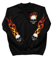 Sweatshirt Sweater Unisex S M L XL XXL 3Xl 4Xl con Stampa Teschio 10112 Nero