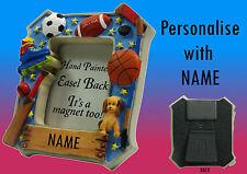Hand Painted Sports Kids Personalised Photo Frame Fridge Magnet Choose Name