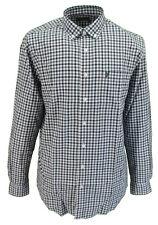 Farah Teal Gingham Long Sleeved Cotton Retro Mod Button Down Shirts