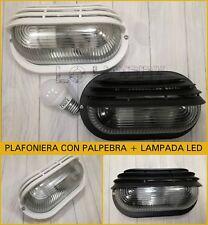 Plafoniera ovale da esterno stagna + lampada led plafoniere applique cupolino