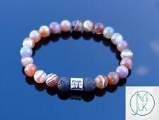 Gemini Botswana Agate Lava Birthstone Bracelet 6-9'' Elasticated Healing Stone