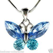 Aqua BLUE w Swarovski Austrian Crystal Bridal Wedding BUTTERFLY Pendant Necklace