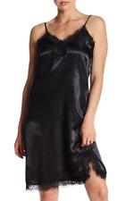 Mimi Chica Lace Trim Satin Slip Dress Black NWT $46