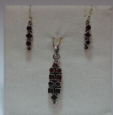 Citrin,Granat oder Weiß Zirkonia Schmuck-Set mit facettierten Steinen in Silber