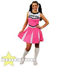 LADIES HIGH SCHOOL PINK CHEERLEADER DRESS FANCY DRESS COSTUME UNIFORM OUTFIT