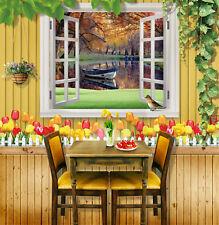 3D Woods, river, boat  Wall Murals Wallpaper Decal Decor Home Kids Nursery Mural