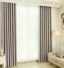 Gardine Verdunkelungsgardine Vorhang mit Kräuselband blickdicht Schal Silbergrau