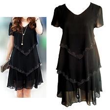 Black Chiffon Short Sleeves Buds Trim Dress Size 10, 12, 14, 16, 18, 20