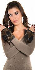Sexy Wild Leder Halb Handschuh mit Fake Fell und Strass Gr. M L In-Stylefashion