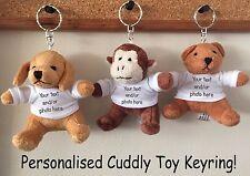 personalised cuddly Teddy bear dog monkey keyrings any text logo photos