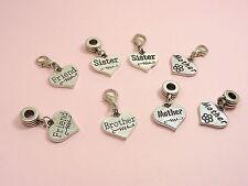 Love HEART Sister/ Mother/ Niece/ Friend CHARM ~European Bail or Clip On Clasp~